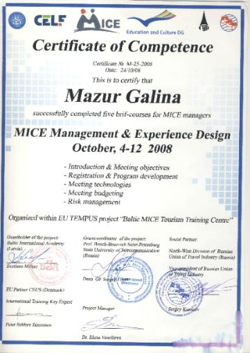 Certificate MICE Management, 2008